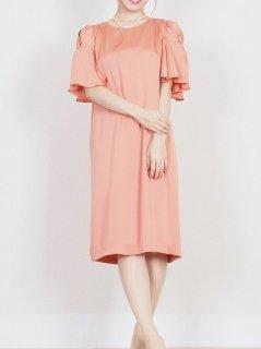 光沢サテンフリル袖ドレス(オレンジ)*【DR0374】