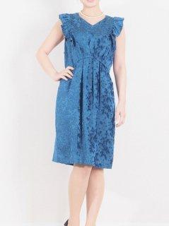 ジャガードフリル袖ドレス(ブルー)【DR0336】
