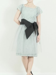 チュールスカート付きレースドレス(ライトグリーン)【DR0338】