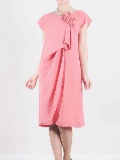 シフォンフロントドレープドレス(ピンク)*【DR0340】