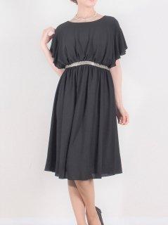 ウエストデコレーションドレス(ブラック)【DR0347】