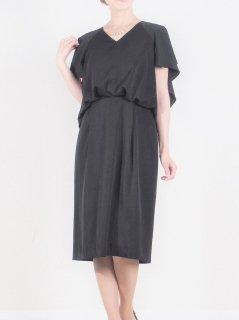 フレアースリーブドレス(ブラック)(Mサイズ)【DR0352】