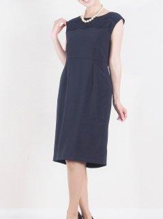 レース切り替えタイトドレス(ネイビー)【DR0354】