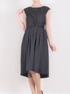 デコルテレースドレス(ブラック)【DR0355】
