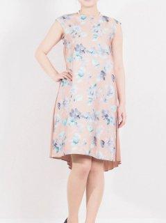 花柄×プリーツドレス(ベージュ)【DR0357】
