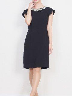 ネックビジュータイトドレス(ブラック)【DR0392】