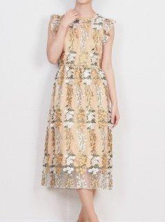 チュール刺繍ドレス(オレンジ)*【DR0399】