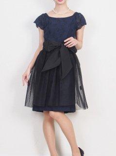 チュールスカート付きドレス(ネイビー)【DR0408】