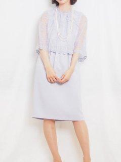 レースケープドレス(サックス)【DR0426】