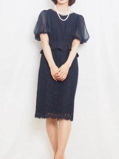 レースタイトドレス(ネイビー)【DR0422】