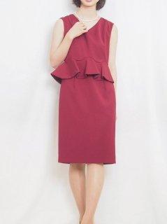 ぺプラムタイトドレス(ワインレッド)【DR0420】
