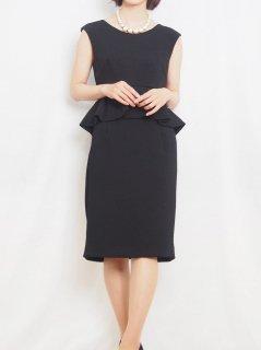 ぺプラムタイトドレス(ブラック)【DR0419】