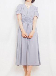 セミロング丈ドレス(スモークブルー)【DR0415】