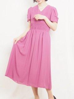 セミロング丈ドレス(チェリーピンク)【DR0414】