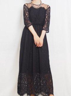 レース長袖ロング丈ドレス(ブラック)*【DR0412】