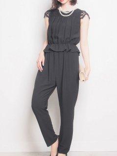オールインワン パンツドレス(ブラック)*【PD0192】
