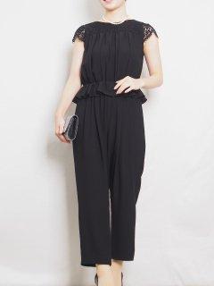 ショートサイズ オールインワン パンツドレス(ブラック)【PD0256】