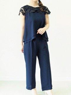 ショートサイズ セットアップ パンツドレス(ネイビー)【PD0255】