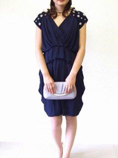 袖パール飾り付きドレス(ネイビー)【DR0021】