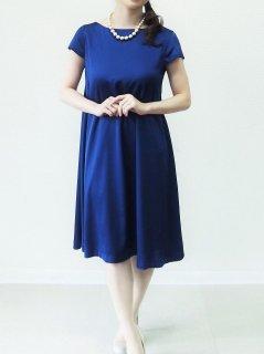 サテン袖付きAラインドレス(ブルー)(Sサイズ)【DR0257】