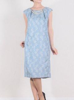 ジャガードパール付きドレス(ラメサックス)【DR0333】