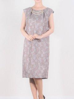 ジャガードパール付きドレス(ラメブラウン)【DR0334】