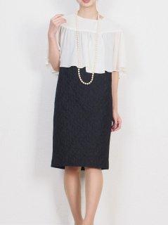 ケープ&タイト 2WAYドレス(オフ×ブラック)【DR0400】