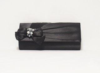 リボンモチーフパーティーバッグ(ブラック)【BG0031】