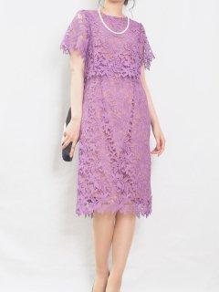 ケミカルレースタイトドレス(ピンクパープル)【DR1008】