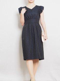 ジャガードタイトドレス(ネイビー)【DR1014】