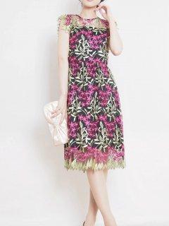 チュール刺繍レースタイトドレス(ピンク)*【DR1019】