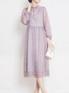 ラッセルレースリーフ柄ドレス(モーブ)【DR1020】