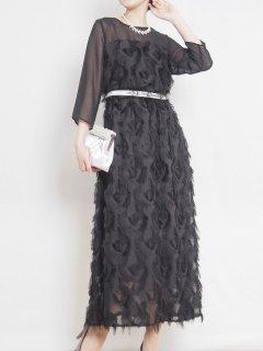 フェザージャガードロング丈ドレス(ブラック)【DR1026】