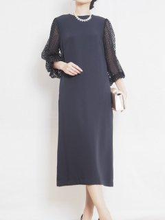 メッシュレーススリーブボックスタイトドレス【DR1034】