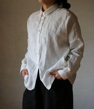 リネンドロップシャツ:白