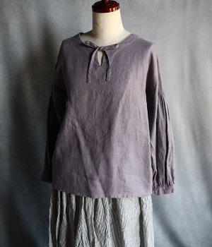 草木染ノーカラーリボンブラウスグレー紫#2001