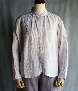丸襟ブラウス:紫ストライプ