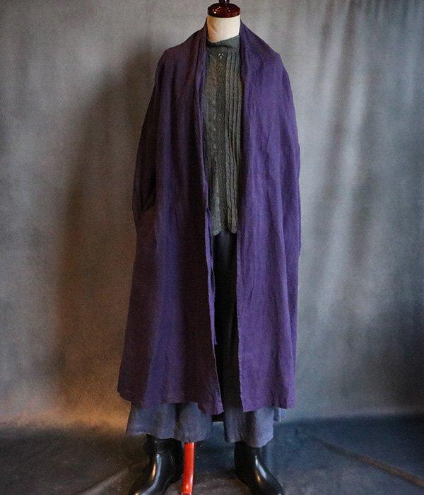 草木染起毛リネンローブコート:紫#2035