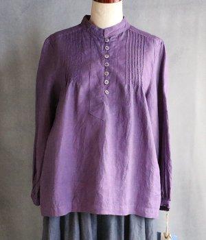 草木染ピンタックブラウス紫