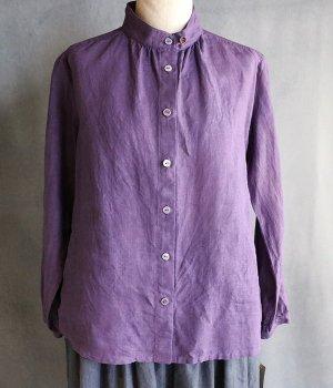 草木染はしごレースブラウス紫