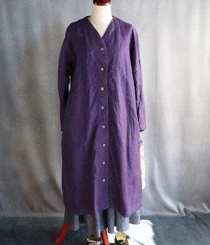 草木染起毛リネンvネックコート:紫