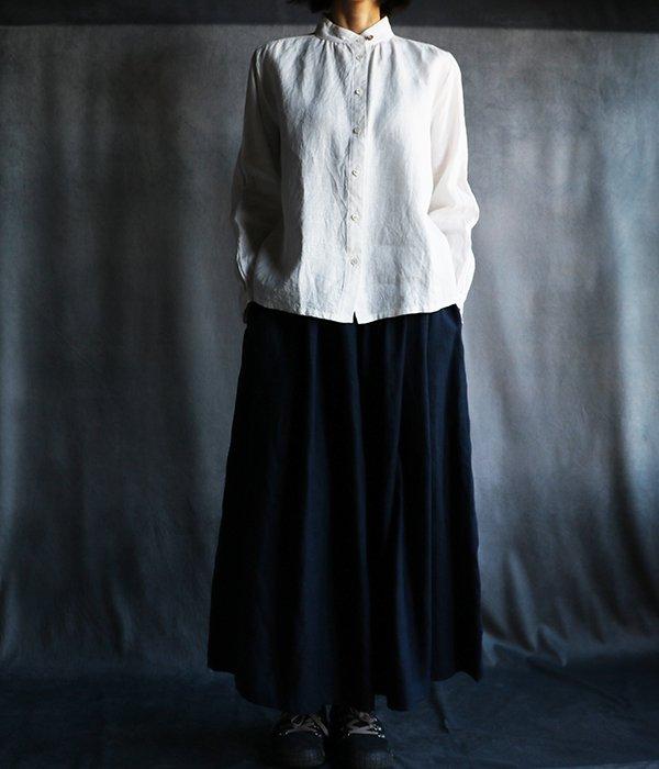 国産リネンスカートパンツ紺