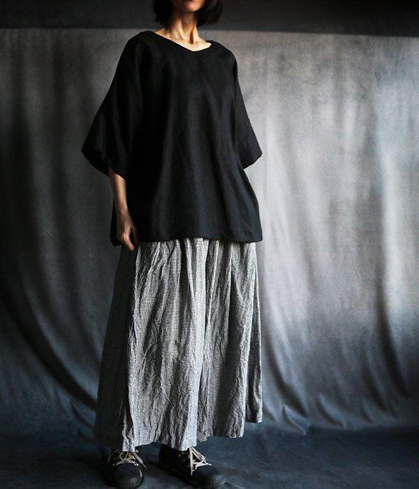 リネンスカートパンツ:ミニギンガム