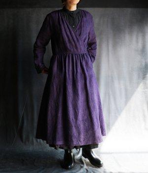 草木染ウエストギャザーカシュクール紫