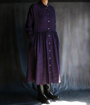 草木染ウエストギャザー前開きワンピース紫