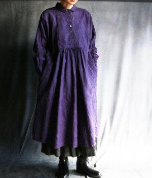 草木染5つボタンワンピース:紫