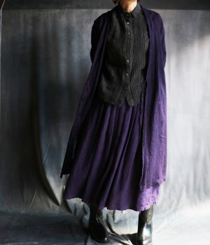 草木染リネンローブコート紫