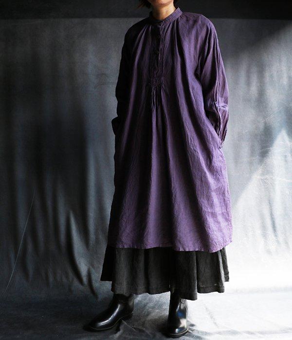草木染フロントギャザーワンピ紫
