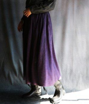 草木染リネンギャザースカート紫