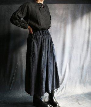 草木染リネンギャザーパンツ:紺
